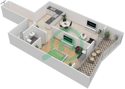 المخططات الطابقية لتصميم الوحدة 5 شقة 1 غرفة نوم - برج الزنبق