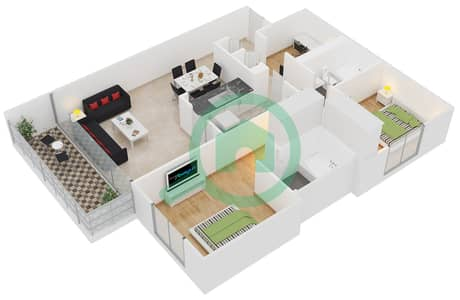 الظفرة 1 - 2 غرفة شقق جناح 18 مخطط الطابق