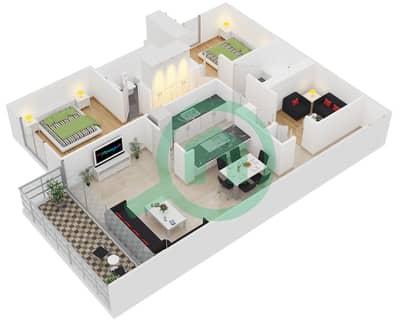 الظفرة 1 - 2 غرفة شقق جناح 19 مخطط الطابق