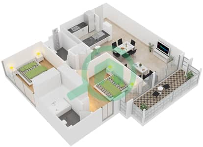 الظفرة 1 - 2 غرفة شقق جناح 11 مخطط الطابق