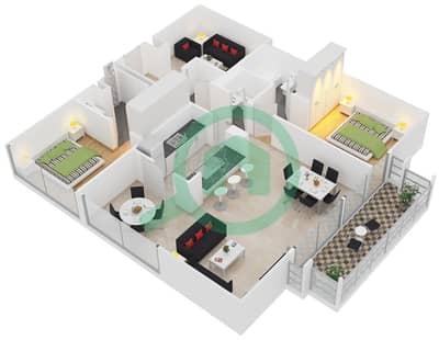 الظفرة 1 - 2 غرفة شقق جناح 5 مخطط الطابق