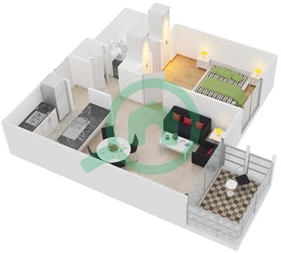 الظفرة 1 - 1 غرفة شقق جناح 7-10,14-16 مخطط الطابق