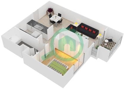 الظفرة 1 - 1 غرفة شقق جناح 1-4 مخطط الطابق