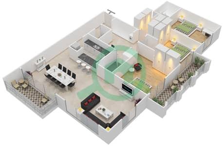 Al Nakheel 1 - 3 Beds Apartments unit 9,10 Floor plan