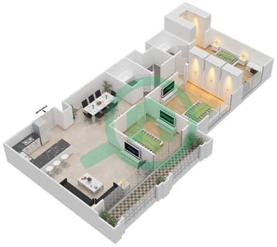 Al Nakheel 1 - 3 Beds Apartments unit 2,3,6 Floor plan