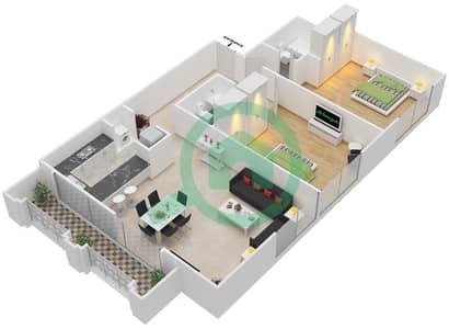 Al Nakheel 1 - 2 Beds Apartments unit 12 Floor plan
