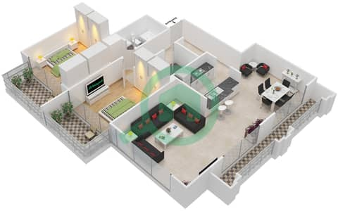 Al Nakheel 1 - 2 Beds Apartments unit 4 Floor plan