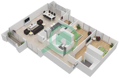 Al Nakheel 1 - 2 Beds Apartments unit 1,11 Floor 1-3 Floor plan
