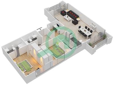 Al Nakheel 1 - 2 Beds Apartments unit 1,11 Ground Floor Floor plan