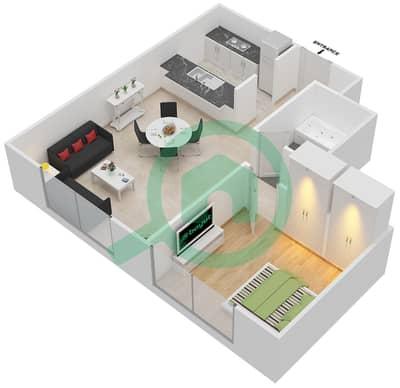 Al Nakheel 1 - 1 Bed Apartments unit 8 Floor plan
