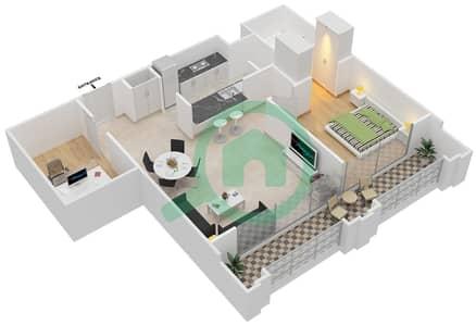 Al Nakheel 1 - 1 Bed Apartments unit 7 Floor plan