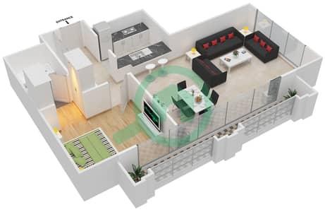 Al Nakheel 1 - 1 Bed Apartments unit 5 Floor plan