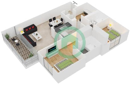 Al Ghozlan 1 - 2 Beds Apartments suite 18 Floor plan