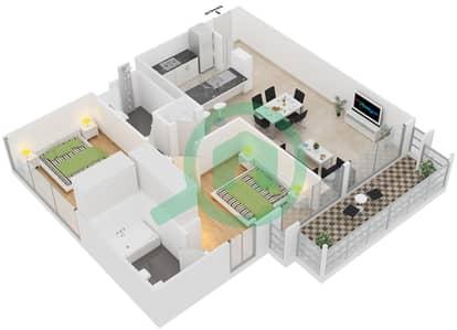 Al Ghozlan 1 - 2 Beds Apartments suite 11 Floor plan