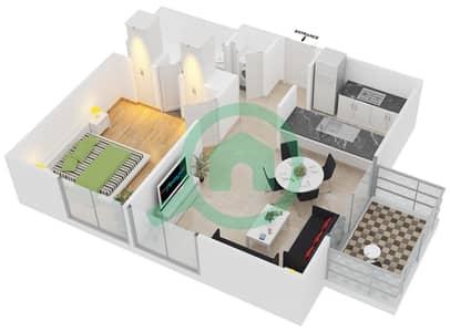 Al Ghozlan 1 - 1 Bed Apartments unit 6 Floor 1-4 Floor plan