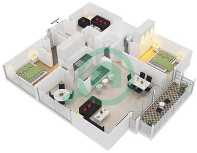 Al Ghozlan 1 - 2 Beds Apartments unit 5 Floor 1-4 Floor plan