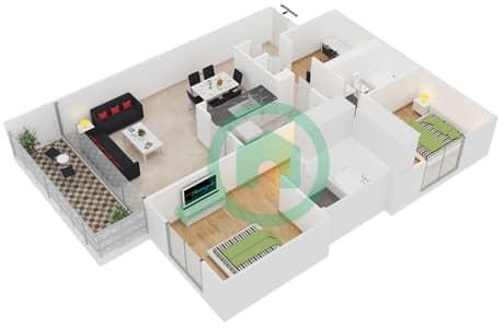 Al Arta 1 - 2 Beds Apartments suite 18 Floor plan