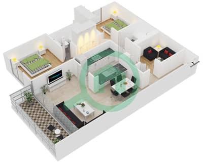 Al Arta 1 - 2 Beds Apartments suite 19 Floor plan