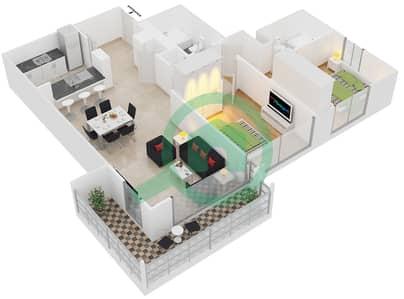 Al Arta 1 - 2 Beds Apartments suite 17 Floor plan