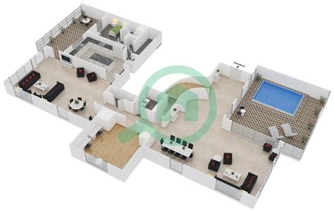 المخططات الطابقية لتصميم الوحدة PA بنتهاوس 4 غرف نوم - امواج 4