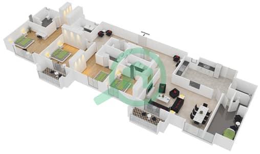 المخططات الطابقية لتصميم الوحدة P02 شقة 4 غرف نوم - امواج 4