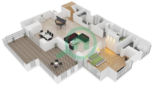المخططات الطابقية لتصميم الوحدة LP04 شقة 4 غرف نوم - امواج 4