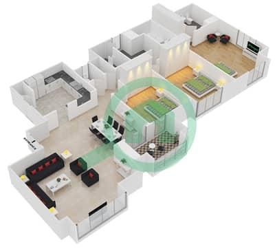 المخططات الطابقية لتصميم الوحدة P03 شقة 3 غرف نوم - امواج 4