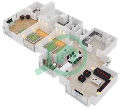 المخططات الطابقية لتصميم الوحدة P01 شقة 3 غرف نوم - امواج 4