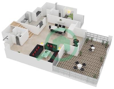 المخططات الطابقية لتصميم الوحدة LP02 شقة 3 غرف نوم - امواج 4