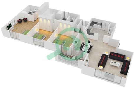 المخططات الطابقية لتصميم الوحدة 30 شقة 3 غرف نوم - امواج 4