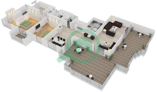 المخططات الطابقية لتصميم الوحدة 6210 شقة 2 غرفة نوم - امواج 4