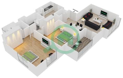المخططات الطابقية لتصميم الوحدة 22 شقة 2 غرفة نوم - امواج 4