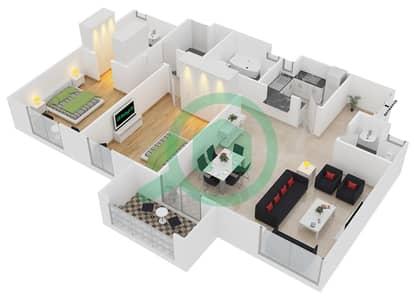 المخططات الطابقية لتصميم الوحدة 20 شقة 2 غرفة نوم - امواج 4