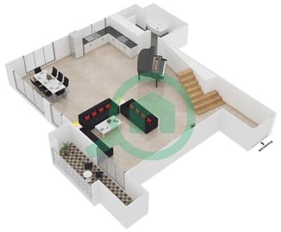 المخططات الطابقية لتصميم الوحدة L05 شقة 1 غرفة نوم - امواج 4