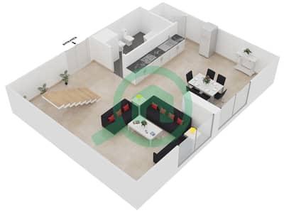 المخططات الطابقية لتصميم الوحدة L04U شقة 1 غرفة نوم - امواج 4