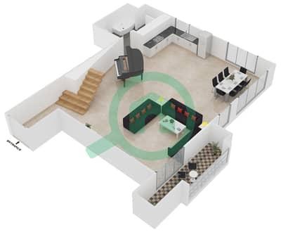 المخططات الطابقية لتصميم الوحدة L03U شقة 1 غرفة نوم - امواج 4