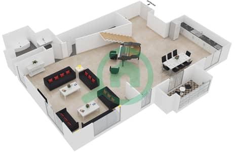 المخططات الطابقية لتصميم الوحدة L02 شقة 1 غرفة نوم - امواج 4