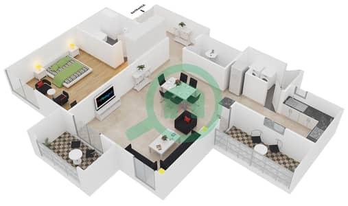 المخططات الطابقية لتصميم الوحدة 15 شقة 1 غرفة نوم - امواج 4