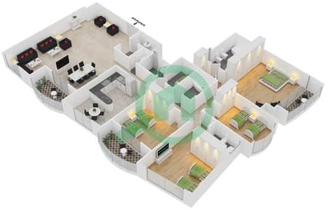 المخططات الطابقية لتصميم الوحدة 3 شقة 4 غرف نوم - برج بريتوني