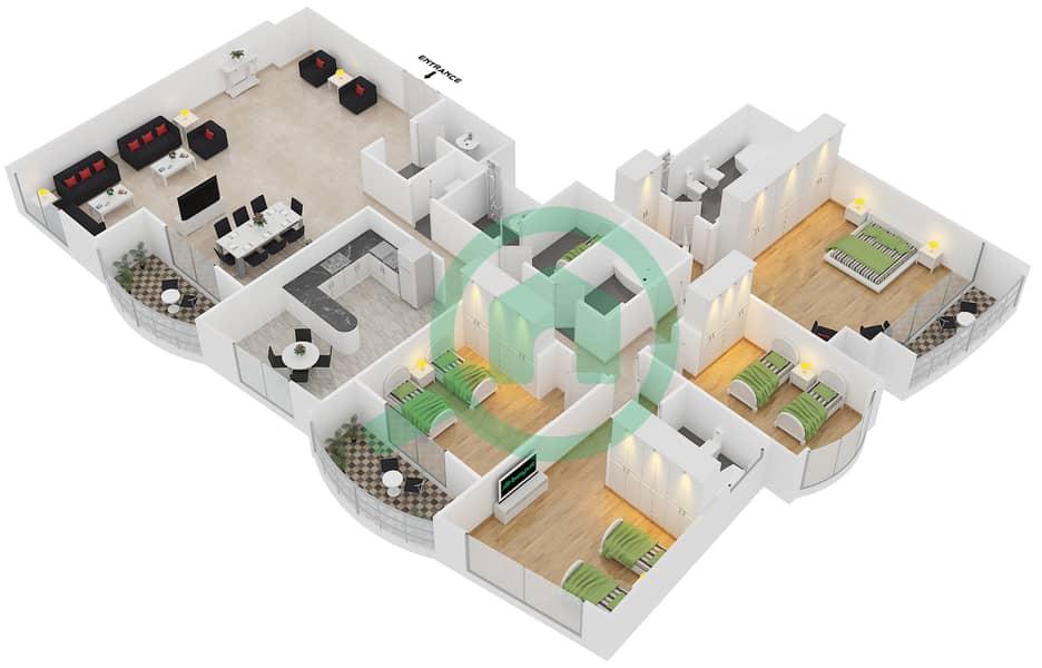 المخططات الطابقية لتصميم الوحدة 3 شقة 4 غرف نوم - برج بريتوني Floor 43-44 image3D