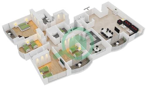 المخططات الطابقية لتصميم الوحدة 2 شقة 4 غرف نوم - برج بريتوني