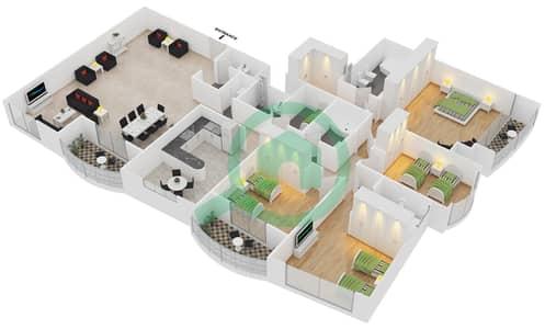 المخططات الطابقية لتصميم الوحدة 1 شقة 4 غرف نوم - برج بريتوني