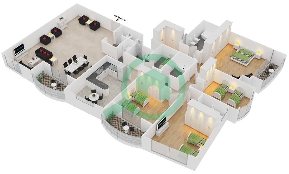 Preatoni Tower - 4 Bedroom Apartment Unit 1 Floor plan Floor 43-44 image3D