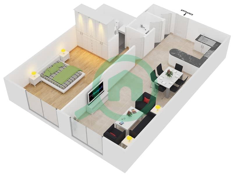 المخططات الطابقية لتصميم الوحدة 4 شقة 1 غرفة نوم - برج بريتوني Floor 26-42 image3D