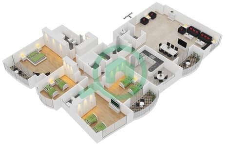 المخططات الطابقية لتصميم الوحدة 4 شقة 4 غرف نوم - برج بريتوني