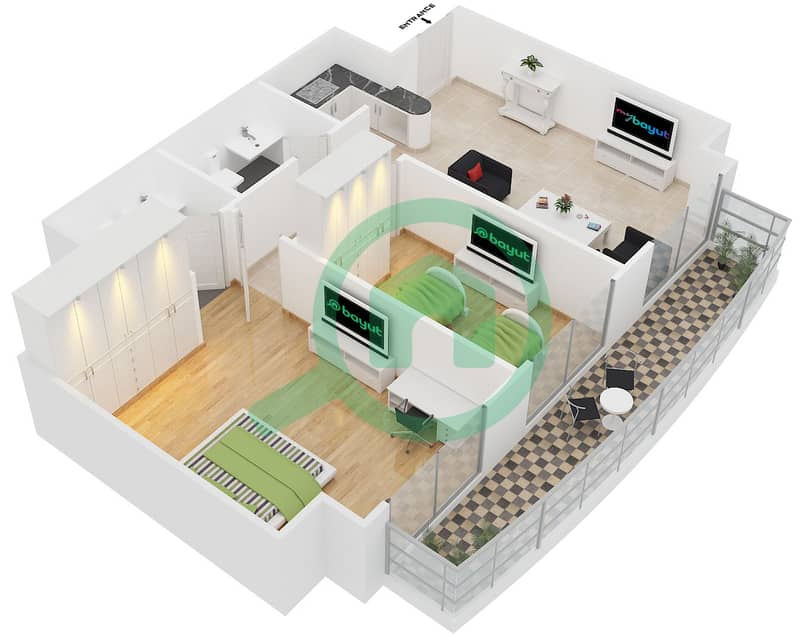 المخططات الطابقية لتصميم الوحدة 1-7 شقة 2 غرفة نوم - برج بريتوني Floor 26-42 image3D