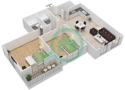The Imperial Residence B - 2 Bedroom Apartment Unit 1,4,5,8 Floor plan