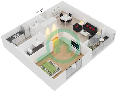 Point Residencia - 1 Bedroom Apartment Unit 5,14 Floor plan
