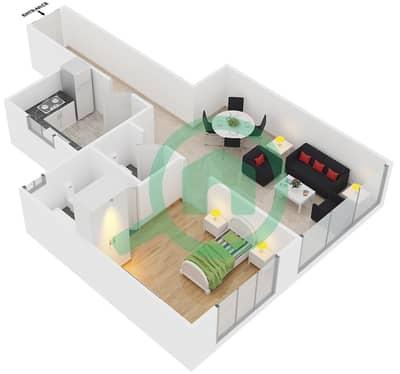 Point Residencia - 1 Bedroom Apartment Unit 2 Floor plan