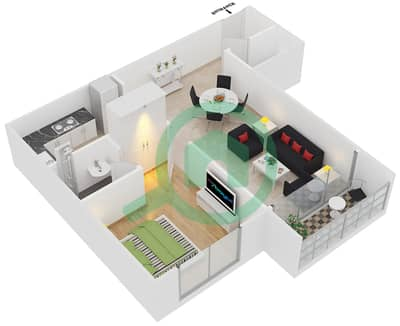 Point Residencia - 1 Bedroom Apartment Unit 2,17 Floor plan